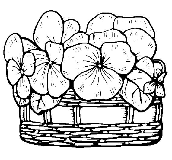 Dibujos de canastas de flores para imprimir y colorear