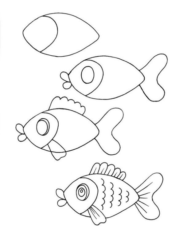 Dibujos para aprender a dibujar un pez
