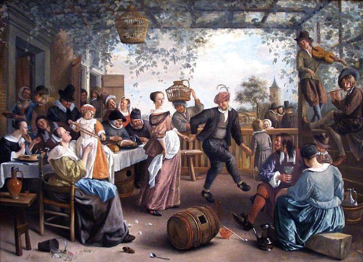 La pareja de baile por Steen Pintor Holandes Famoso