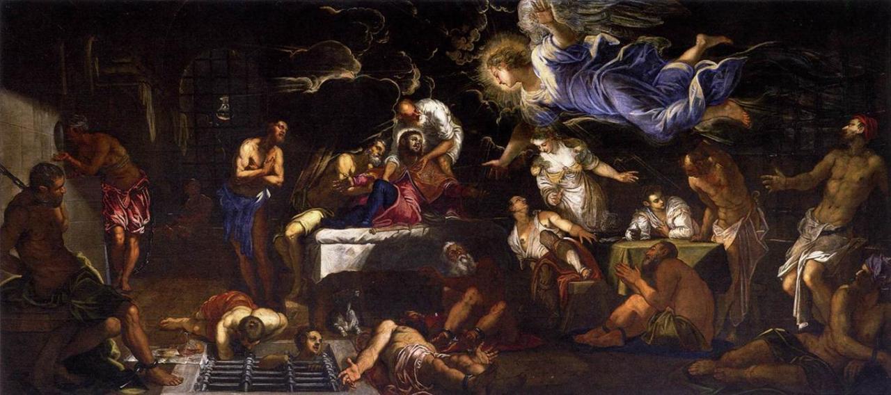 Tintoretto, Jacopo - San Roque en prisión visitado por un ángel