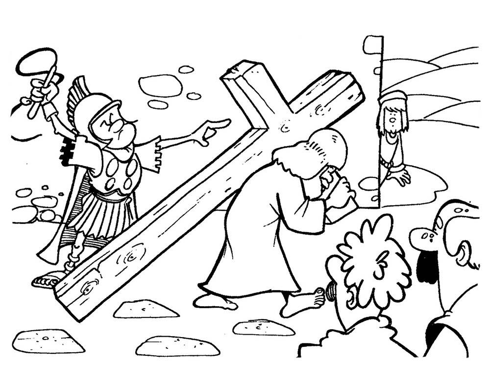 Dibujos de JesúsCargando su Cruz Para Imprimir y Pintar
