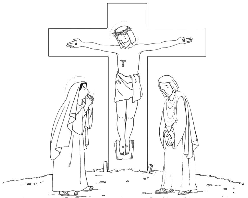 Dibujos de Jesúsen la Cruz con María y Juan para pintar