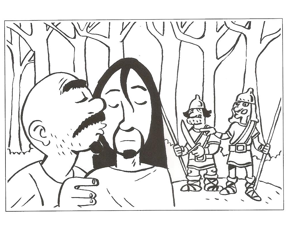 Dibujos de Semana Santa para colorear el beso de Judas