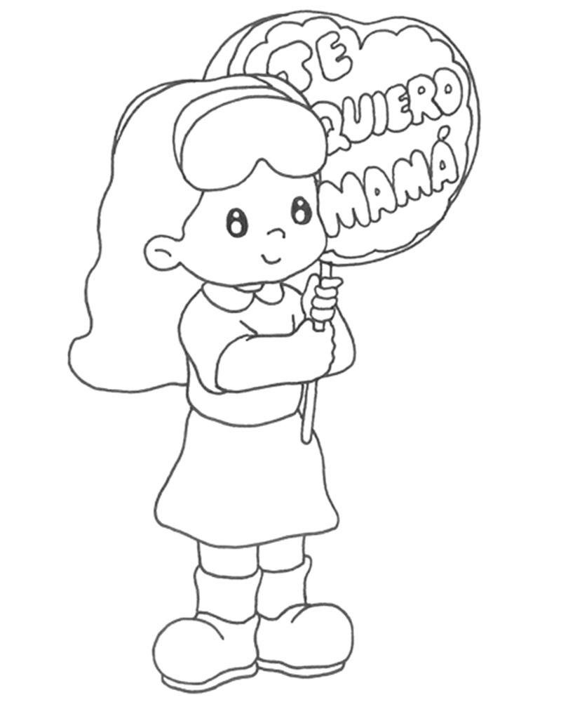 Dibujode una niña para colorear y regalar a mamá en su día