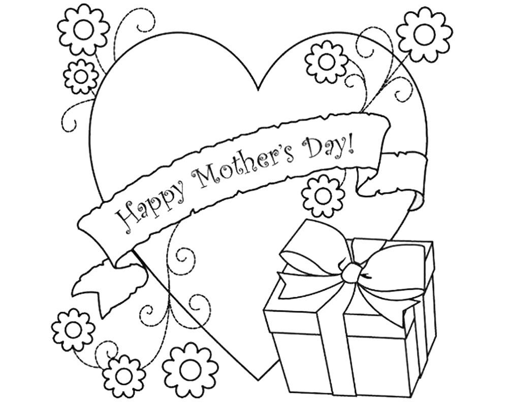 Dibujo para colorear de un corazon para mamá en su día