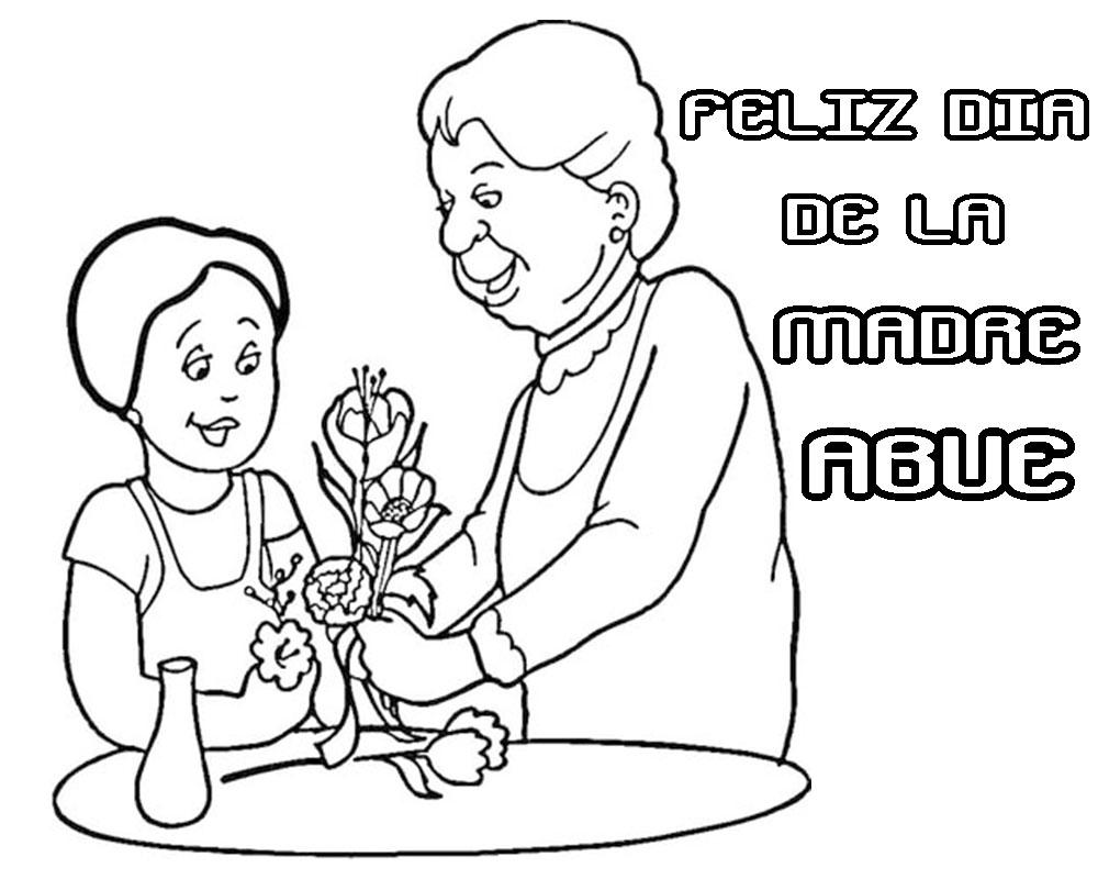 Feliz día de la madre Abuela dibujos para pintar y colorear