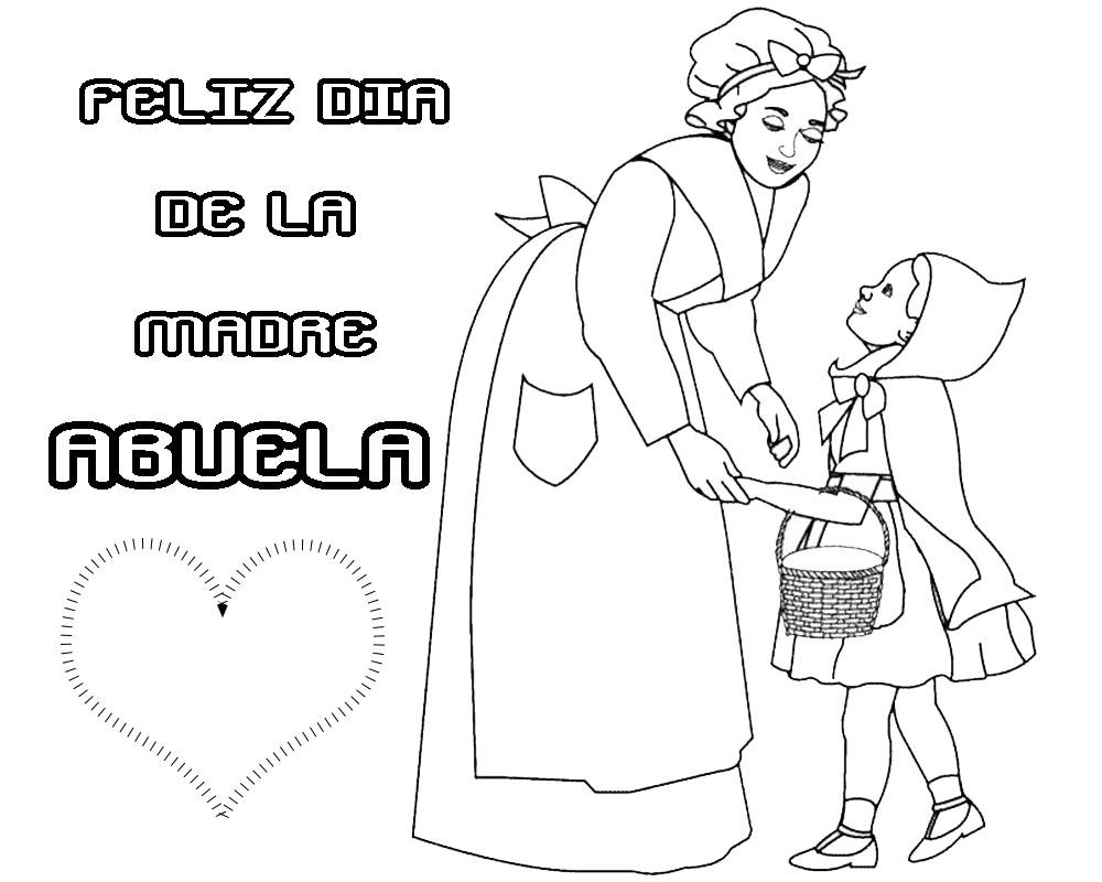 Feliz día de la madre Abuela postales para colorear