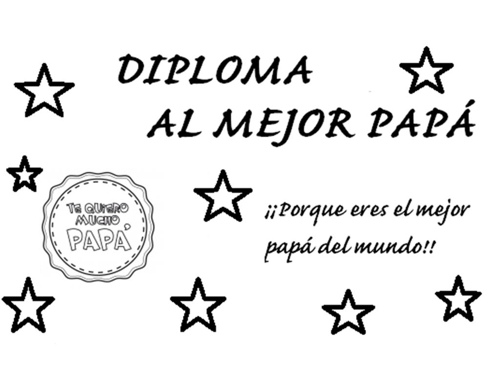 Imagen para colorear diploma al mejor papá
