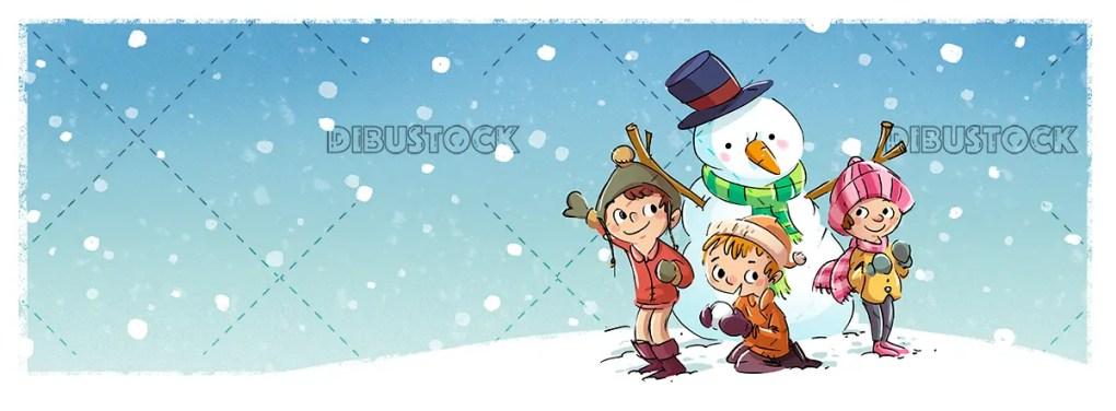 Children with snowman