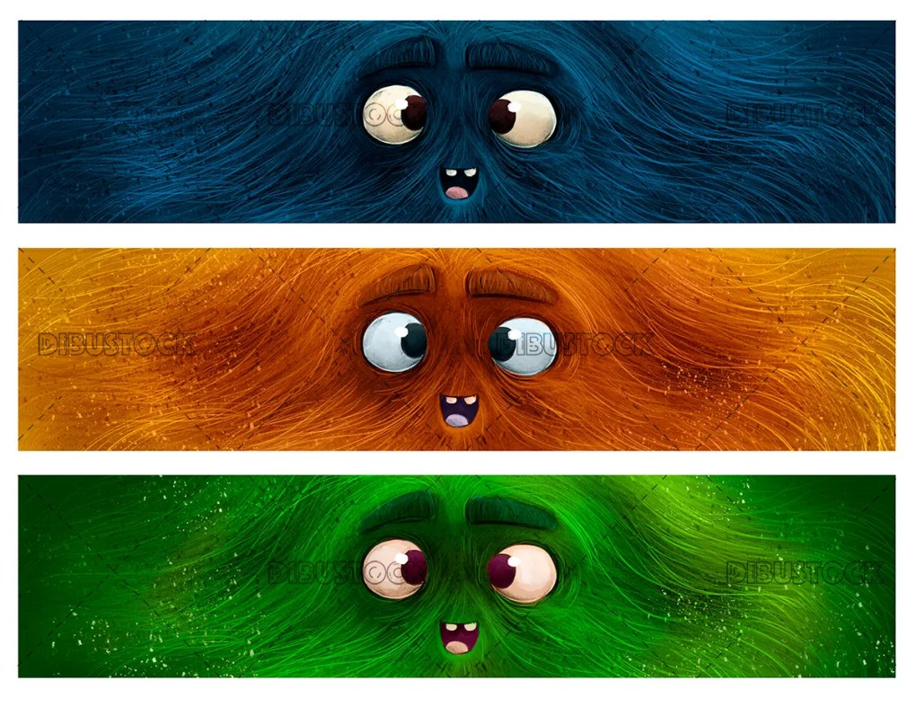 Faces of colored monsters