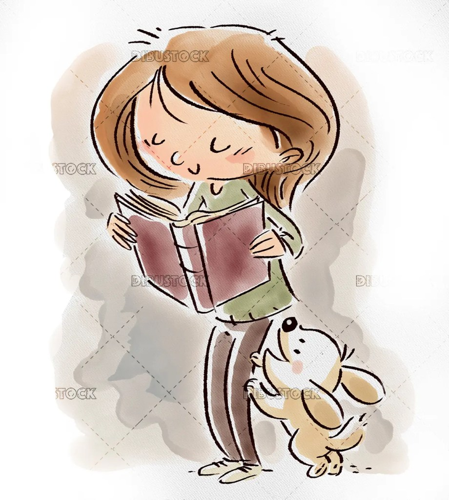 Girl reading with dog