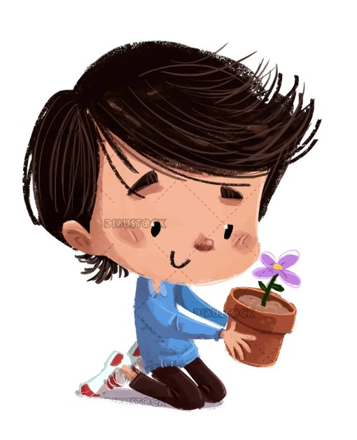 Niño con maceta y flor