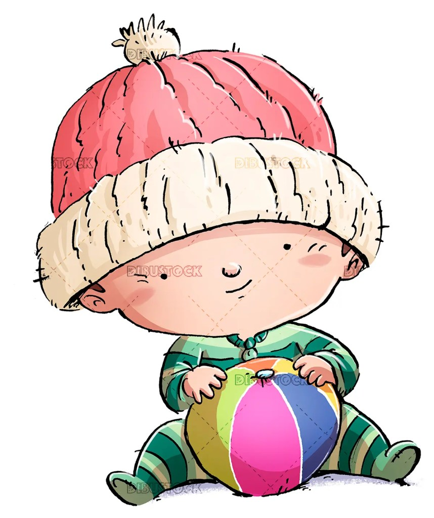 baby with ball and hat