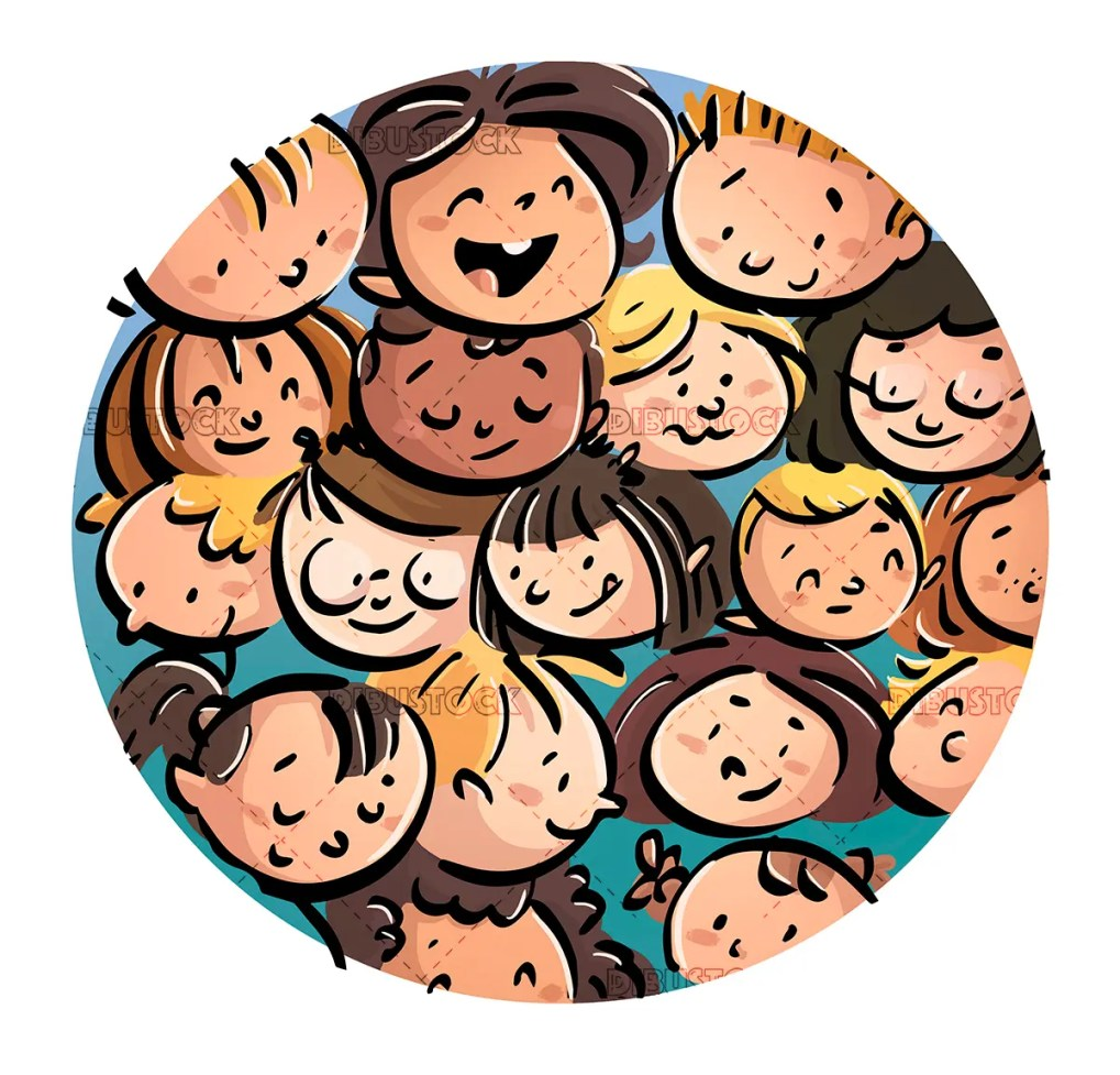faces of happy children circle