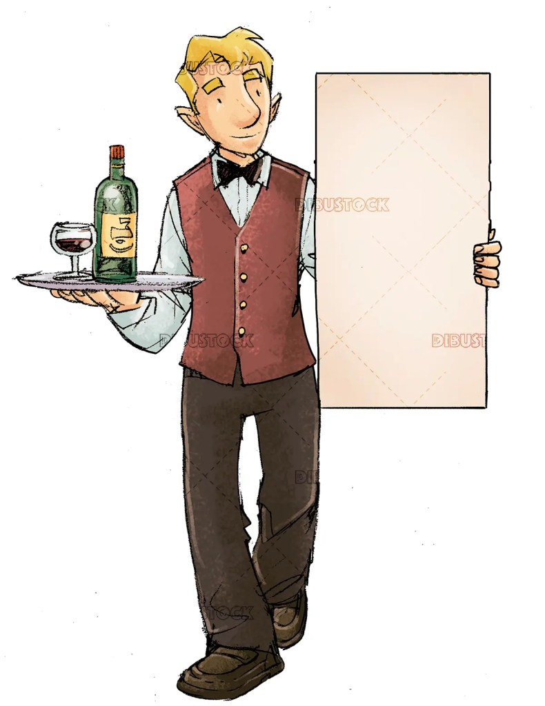 waiter with letter