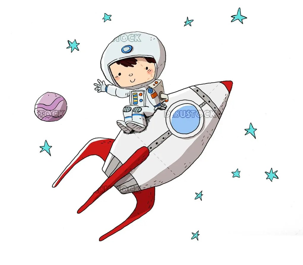 Astronaut in a rocket. Sitting on a rocket
