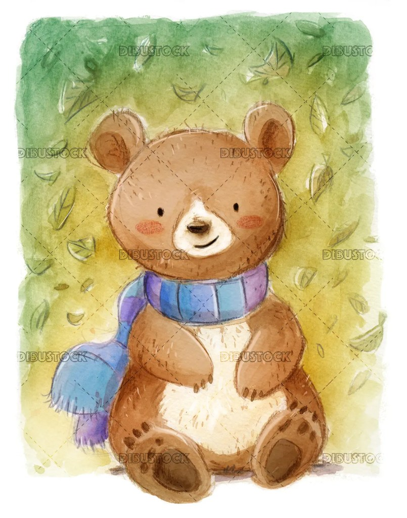 Bear with scarf texture background