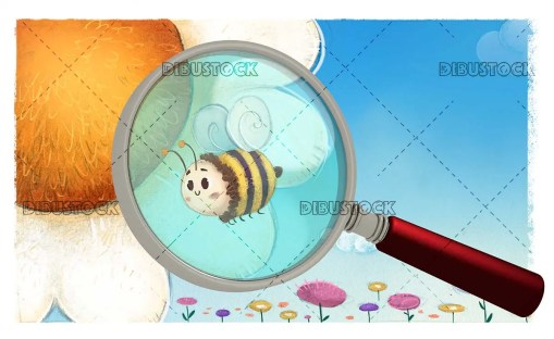 Bee on a flower look with a magnifying glass