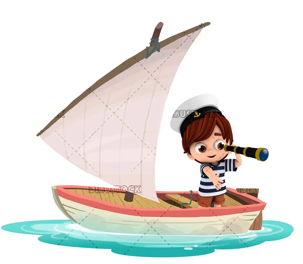 Boy in a boat with a spyglass