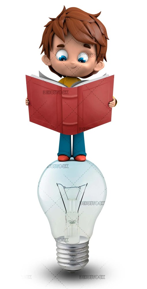 Boy reading uploaded to a light bulb