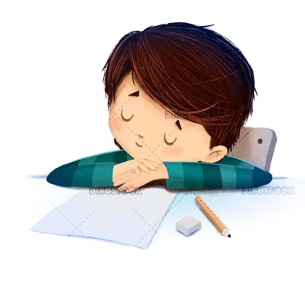 Boy sleeping in class while doing homework