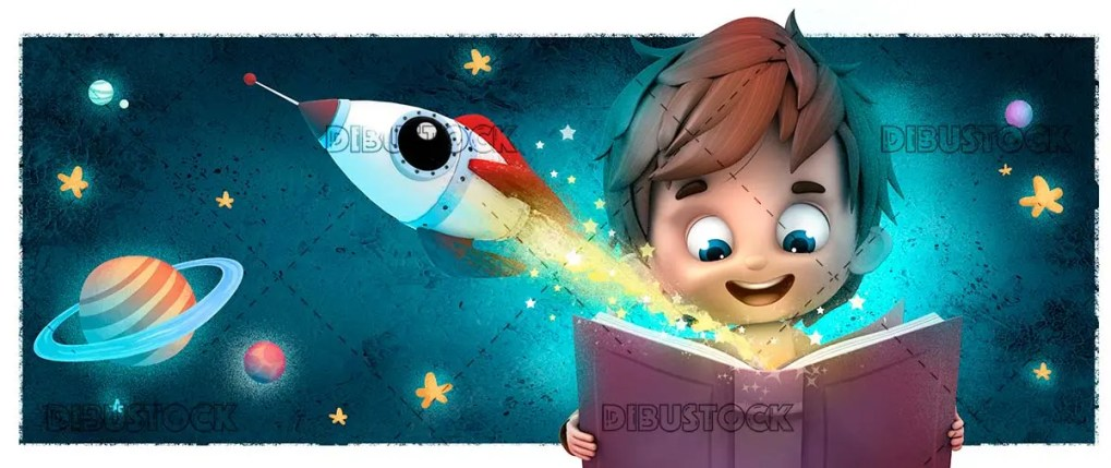 Boy with rocket and book