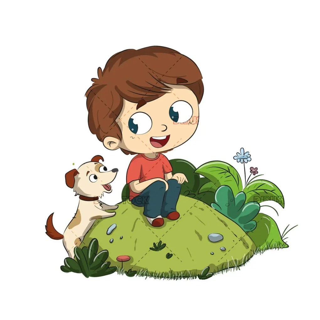 Child with a dog. Sitting in the park with your pet