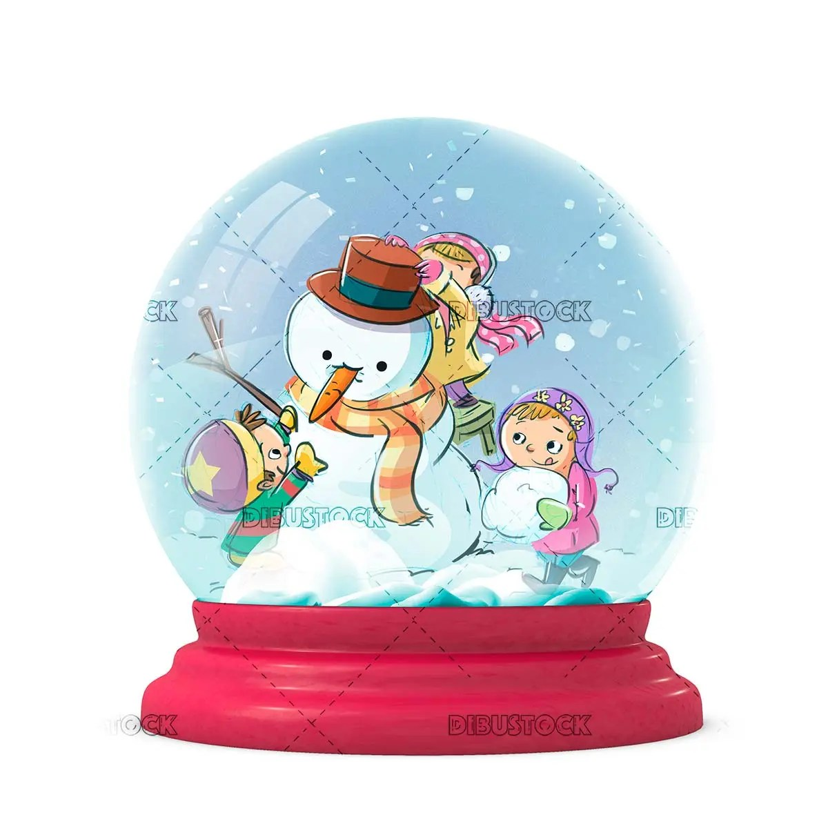 Children and snowman in crystal ball