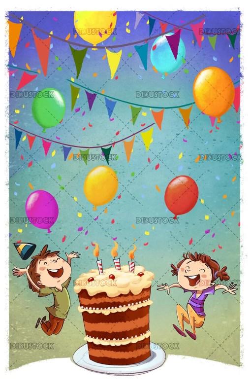 Children celebrating birthday with cake with background