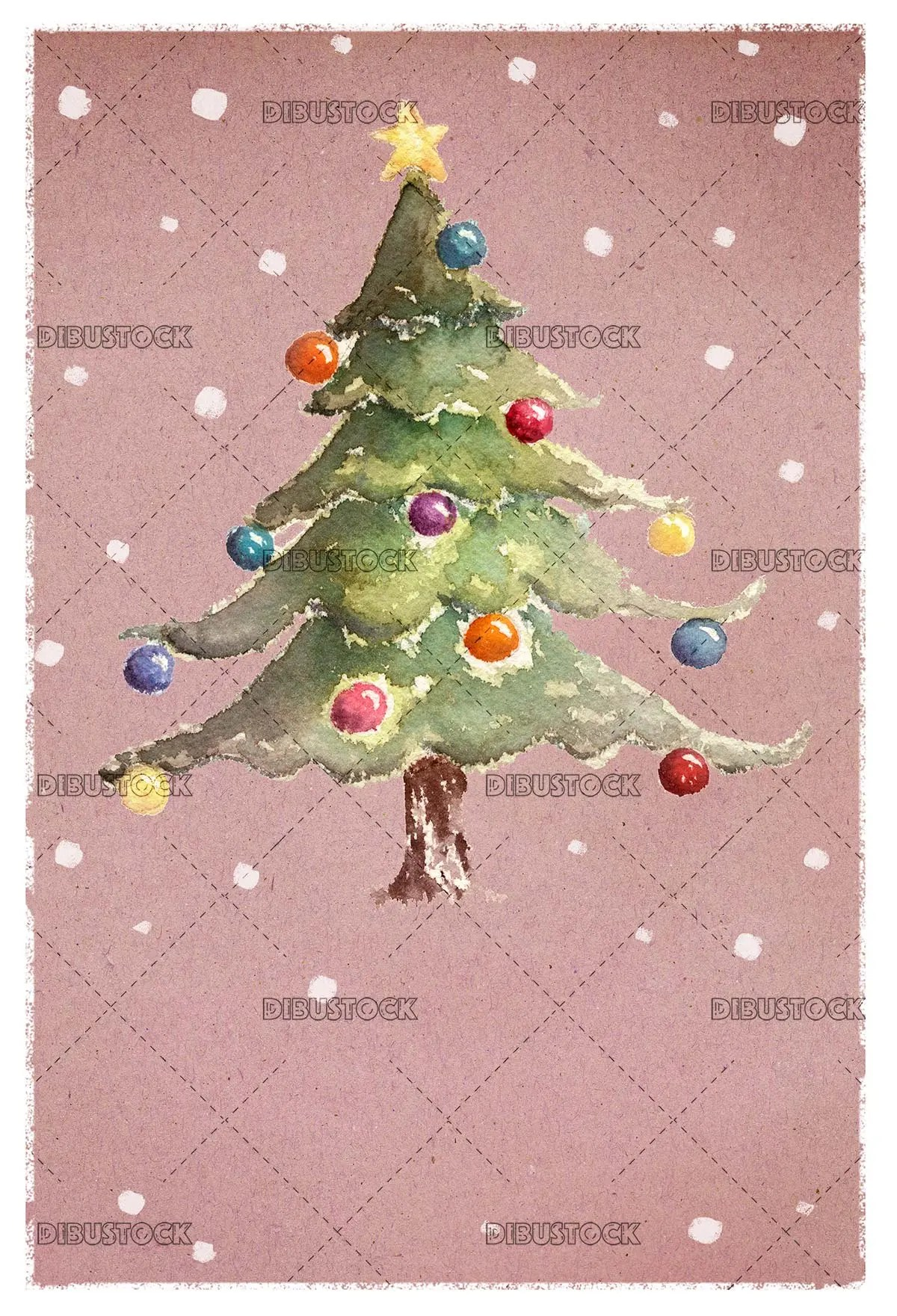 Christmas greeting with tree in watercolor
