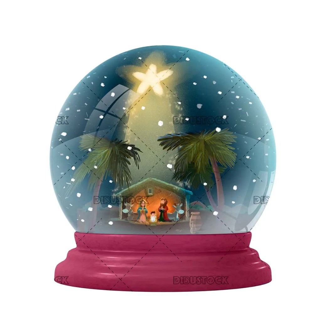 Crystal ball with nativity scene
