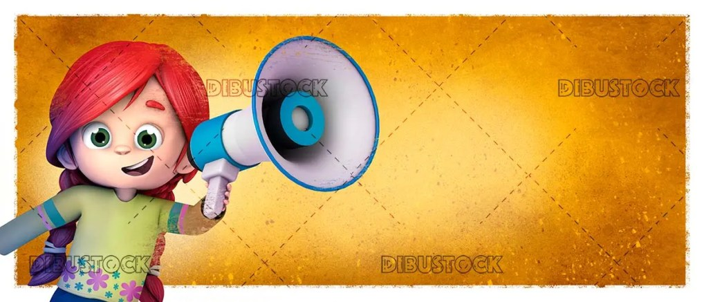 Girl talking with megaphone