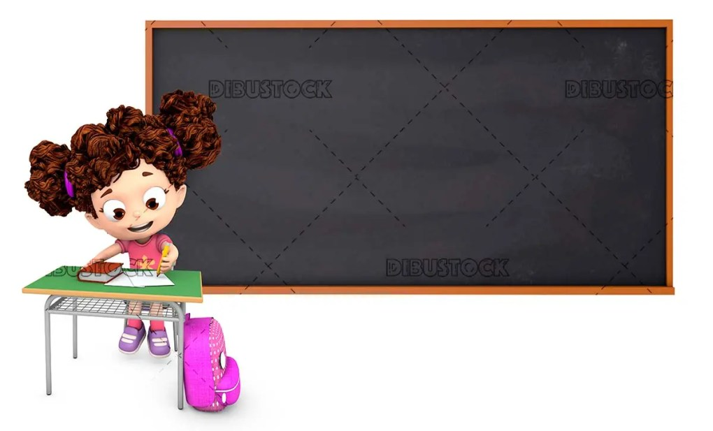 Little girl in class sitting at her desk with blackboard