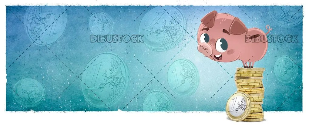 Pig piggy bank with money