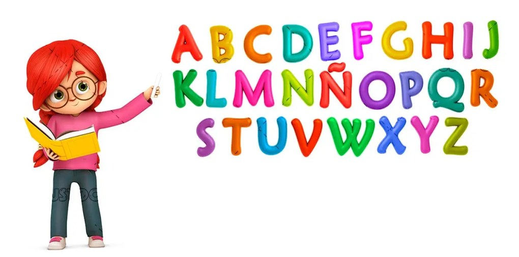 Teacher teaching the colored letters