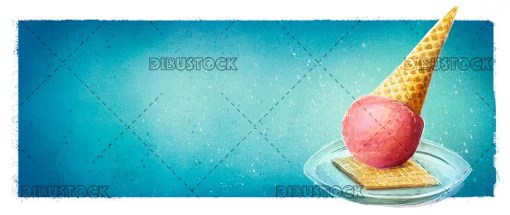 Watercolor ice cream with cookie