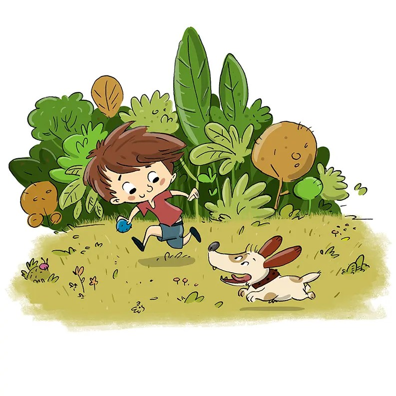 nino corriendo con el perro 1