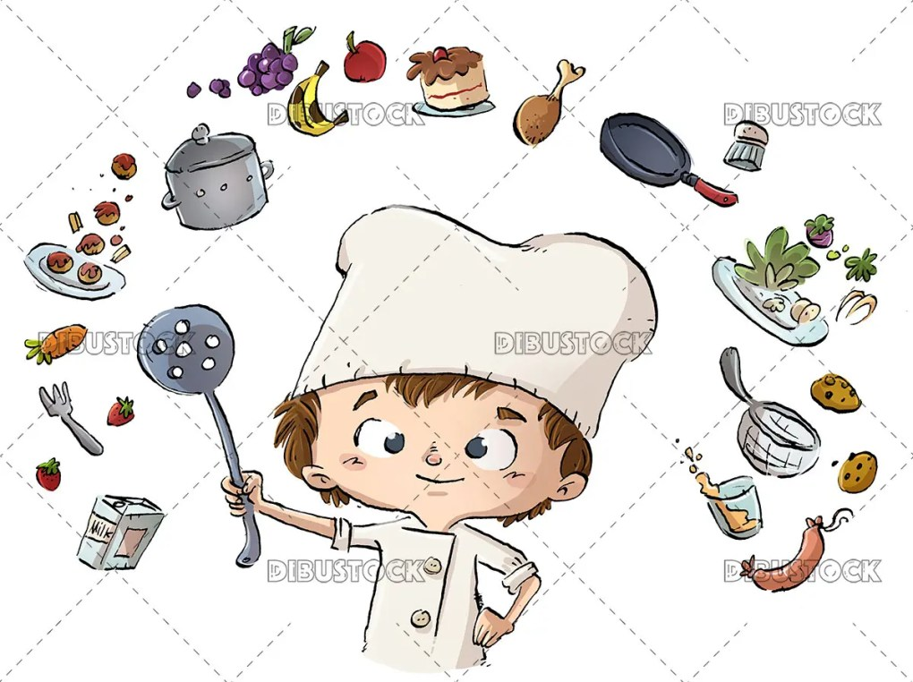 Chef child surrounded by ingredients