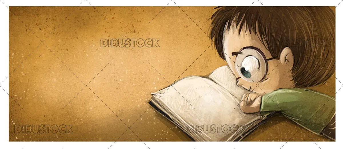 boy reading book glasses 1