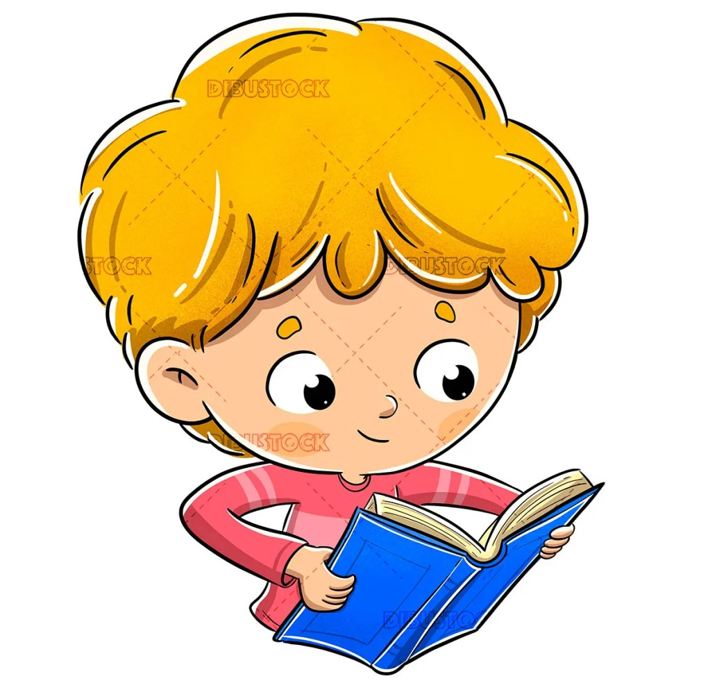 Blond boy reading a book