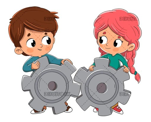 Boy and girl collaborating together