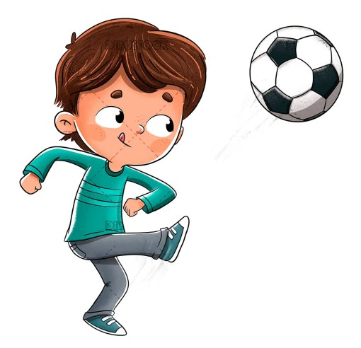 Boy playing soccer throwing the ball