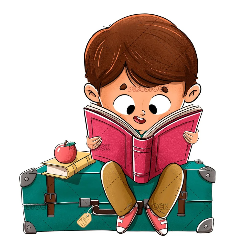 Boy reading a book sitting on a suitcase