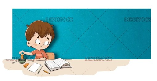 Boy reading a book while eating some cookies