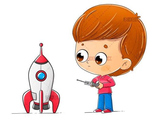 Boy with a toy rocket