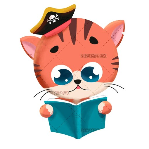 Cat reading a book with pirate hat