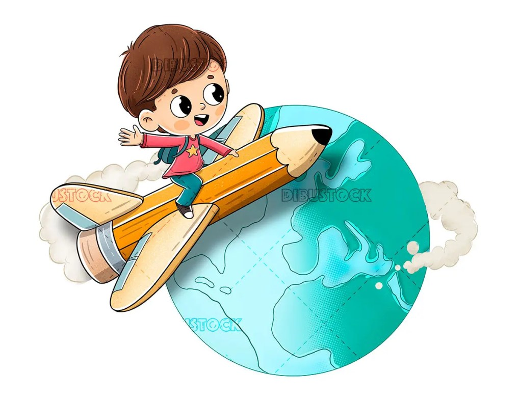 Child flying on a pencil around the world