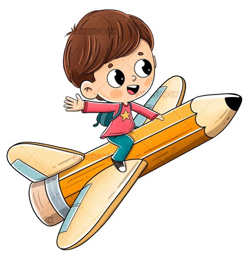 Child flying on a pencil with wings