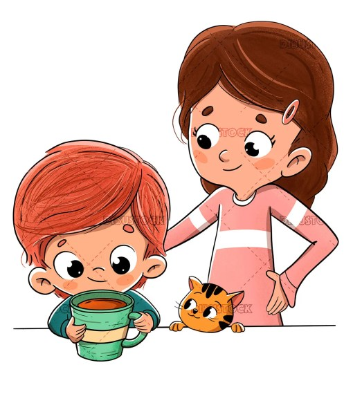 Child having breakfast or snack with family