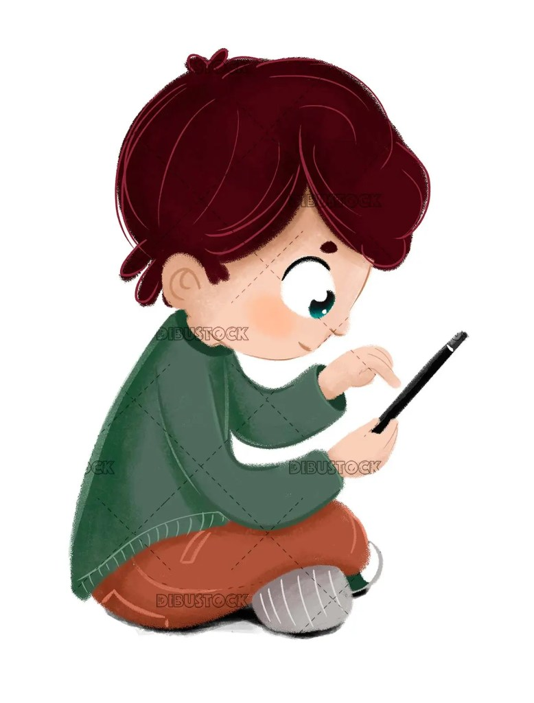 Child with a tablet or phone